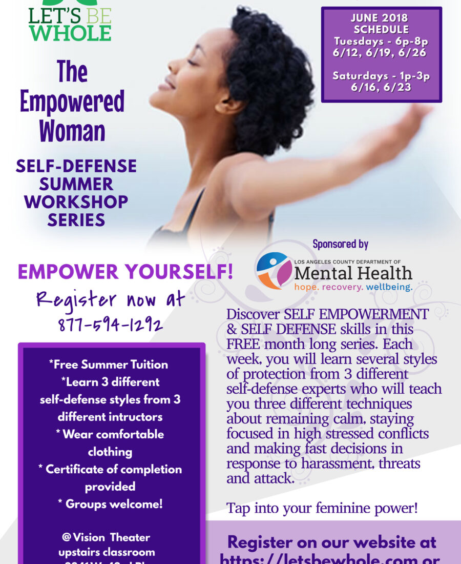 We offer empowering workshops for the underserved. This free self-defense series featured 3 different instructors to train women in several techniques in self-protection.