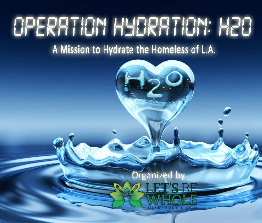 Operation Hydration H20 is a water project initiated by Let's Be Whole that provided water & hydration education to the homeless throughout L.A. County.
